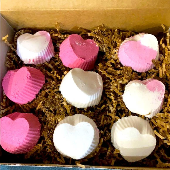 Set of 9 variety heart shaped bath bombs